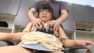 Asian chubby in glasses throbbed doggystyle in the salon