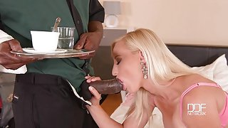 Blonde babe gets her shaved pussy smacked by BBC