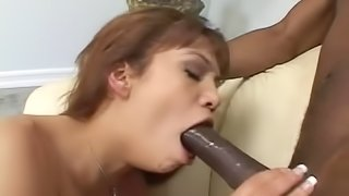 Good-looking Latina having steamy sex with a black lover boy