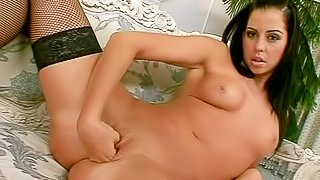Alluring brunette Larissa Dee with perky natural tits spreads her legs and fists her hairy pussy with desire before she takes big black dildo. Watch chcik in stockings stretch her fuck hole