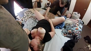 Bbw blonde slut birthday gangbang  all cum in her pussy!