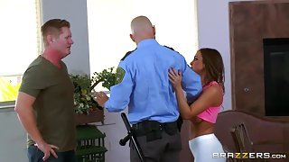 Brutal police man is fucking brunette