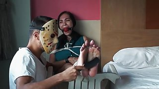 Dump whore Milestiba gets ball gagged and tickle tortured
