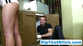 Brunette slut Cosette Ibarra fucked hard in the ass by horny plumber!