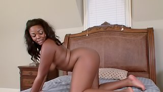 Chubby brunette Lonna Rae offers her chocolate body to a hunk