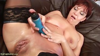Hot mom fucks her pink wet pussy with a dildo