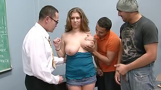 Chubby girl and a trio of nerds have a hot gangbang