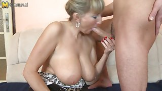 Busty mother drilled by her young boy