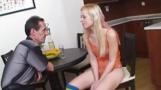 old man youthful girl - Shy teen girl with old man