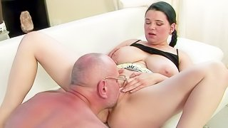 Young BBW Laurea with massively big natural tits gives it to mature four-eyed man. He licks her meaty pussy and she sucks his cock. They do it with real desire on the couch. Watch them have fun!