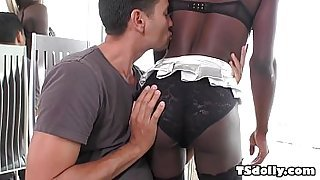 Black t-girl Kendall Dreams riding on a white cock