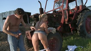 Hot farm girl moans while riding a dick in the fields