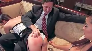 Amber Rayne is Steve Holmes obedient wife. Well trained woman licks Isis Loves feet clean and gets her ass spanked hard. She does her best to make her husbands kinky guest happy