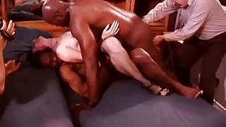 White Hotwife in a Room Full of Black Bulls