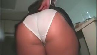 Chubby brunette with a nice ass playing with her tight asshole