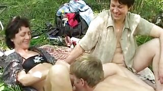 Crazy russian picnic with big b(.)(.)bs mature